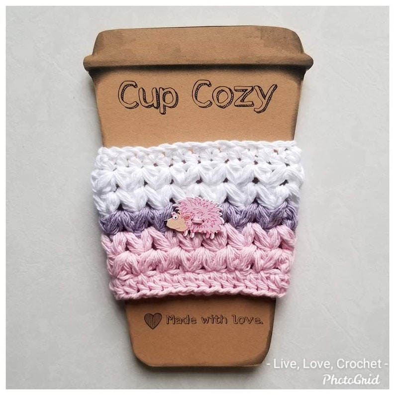 Crocheted Hedgehog Cup Cozy Cozies Coffee cup cover to-go White/purple/pink