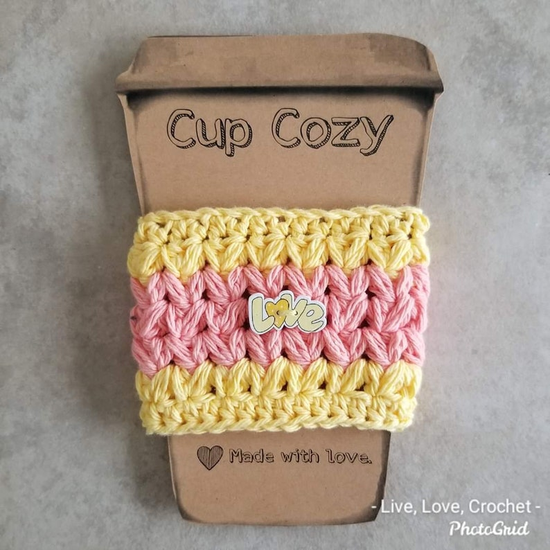 Crocheted Love Cup Cozy Cozies Coffee cup cover Yellow/peach