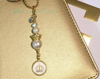 Chic Pearl & Crown Planner Charm, Planner Accessory, Zipper Pull, Handbag Dangle