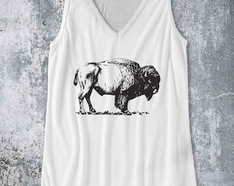 Bison Buffalo / Tank Top design Pop Culture Country Southern Farm tank - Ink Printed