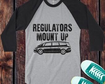 Regulators Mount Up T-Shirt Mama Mom Busy Minivan funny Style on a 3/4 Sleeve Baseball Raglan - Ink Printed