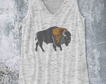 Indian Bison Buffalo with War Bonnet Headdress piece / Tank Top design Pop Culture Country Southern tank - Ink Printed