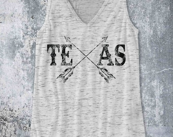 Texas with arrows / Tank Top design Pop Culture Country Southern Distressed BoHo style tank - Ink Printed