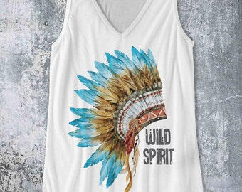 Wild Spirit Indian headress Aztec style / Tank Top design Pop Culture Country Southern Distressed BoHo style tank - Ink Printed