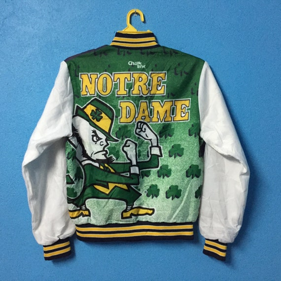 Rare nice sweater jacket size satin vintage chalk line varsity notre S dame design r8r1awFzq