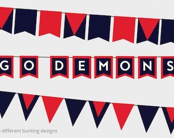AFL Bunting Melbourne Demons Decorations - AFL Grand Final Decorations - Melbourne Demons AFL - Printable Bunting Design - Afl football