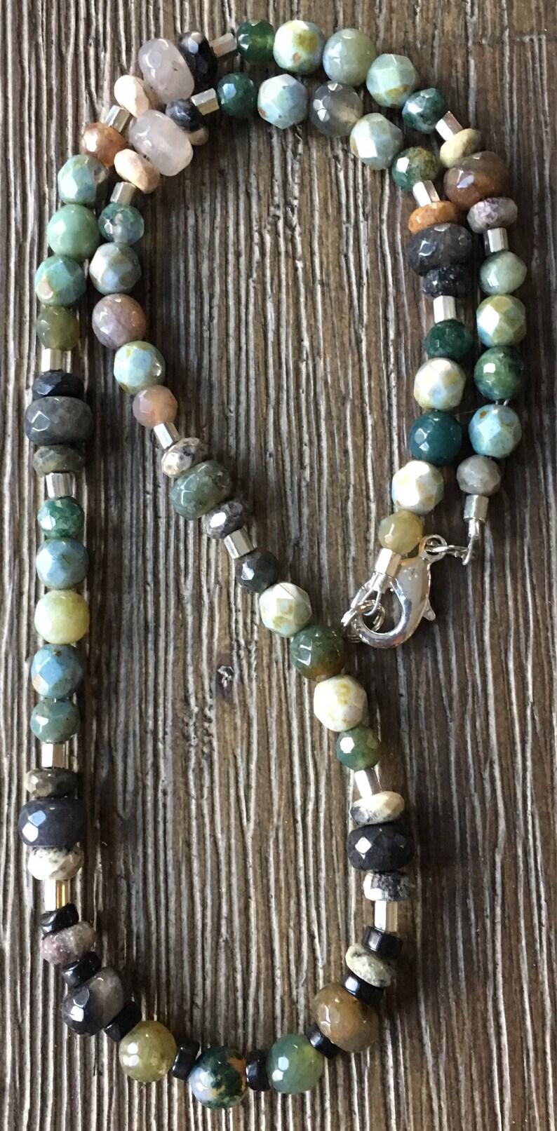 Rainbow Agate necklace Jasper necklace Czech Glass necklace Jade necklace