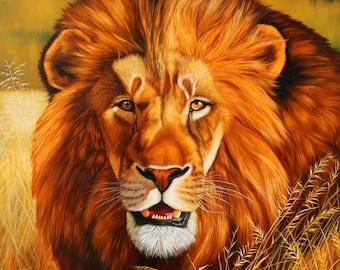 Lion oil painting, Original oil, Original art, Gift oil, Lion art