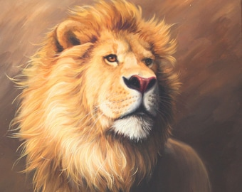 Wall Decor Home Decor Original Oil Painting Lion Painting Etsy
