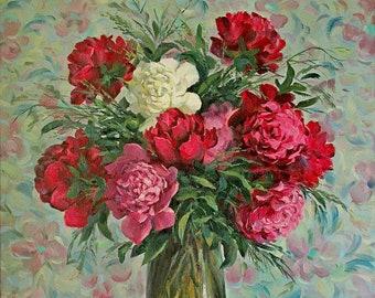 Peonies oil painting, Flowers oil painting, Valery Limonov painting, Peonies gift, Original oil painting, Peonies art, Flowers art