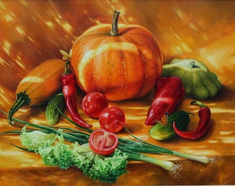 Still life with vegetables, Still Life with Pumpkin, Still life oil, Original still life, Still life on canvas