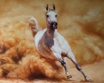 Horse Racing oil, Running horse, White horse, Running white horse, White horse oil, Original oil painting