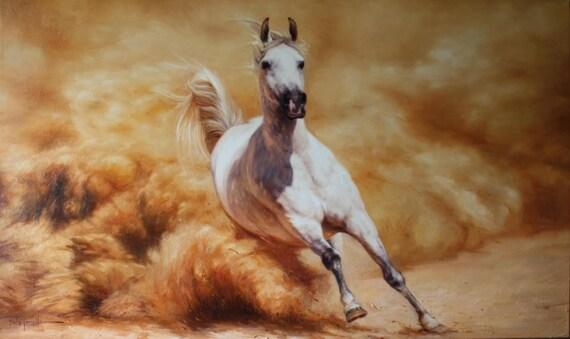 Horse Racing Running Horse White Horse Art Oil On Canvas Etsy
