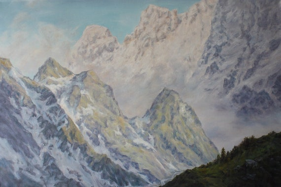 Large Wall Art Original Oil Painting Mountain Art Mountain Painting Oil On Canvas Impression Art Landscape Painting
