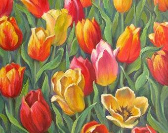 Tulips oil painting, Original tulips art, Flowers oil painting, Colored tulips oil, Valery Limonov painting, Original gift, Flowers art