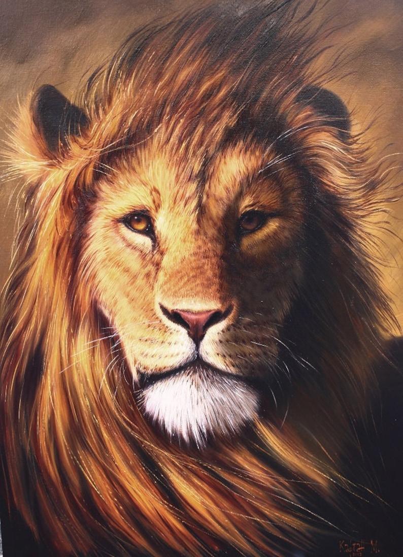 Home Decor Wild Lion Lion Art Large Lion Painting Lion Etsy