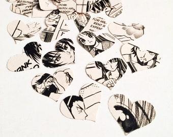 Manga Bookish Heart Confetti made from Manga Book Pages
