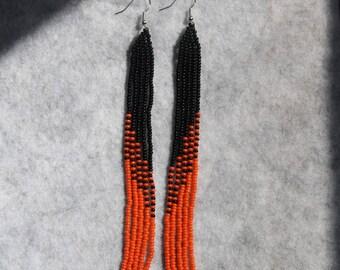Native American Earrings extra Long orange and black earrings new handmade