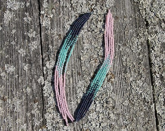 Native American Earrings extra Long blue pink turquoise color earrings new handmade