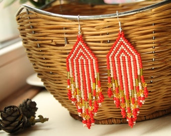 Native American Beaded Earrings handmade red white seed bead Earrings Boho