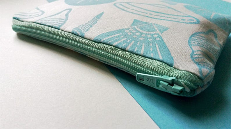 Hand Printed Blue Beach Shell Coin Purse