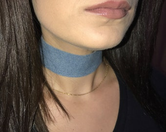 Blue Denim Jeans Thick Choker Necklace