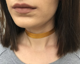 Gold Metallic Choker Necklace