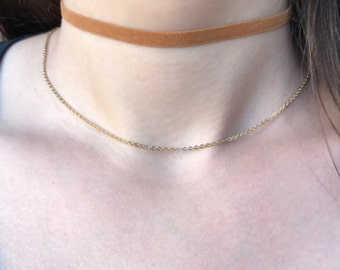 Light Brown Faux Suede Choker Necklace