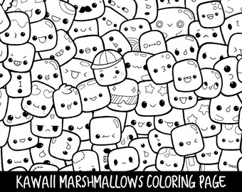 Marshmallows Doodle Coloring Page Printable | Cute/Kawaii Coloring Page For  Kids And Adults