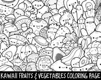 Fruits Vegetables Doodle Coloring Page Printable