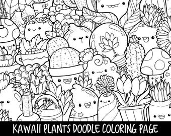 Foods Doodle Coloring Page Printable Cute Kawaii Coloring Etsy