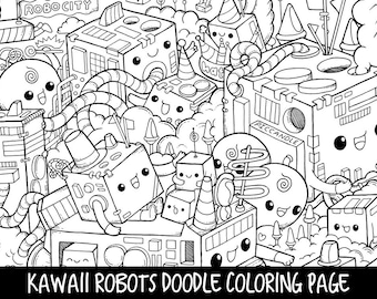 plants doodle coloring page printable cute kawaii coloring etsy