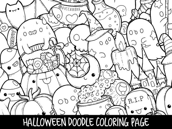 Halloween Doodle Coloring Page Printable Cute/Kawaii | Etsy