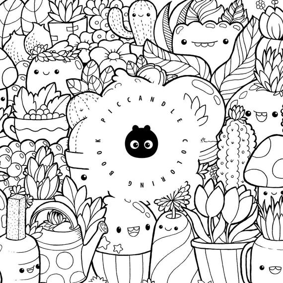 Pic Candle Doodle Coloring Book Inktober 16 Kawaii Etsy