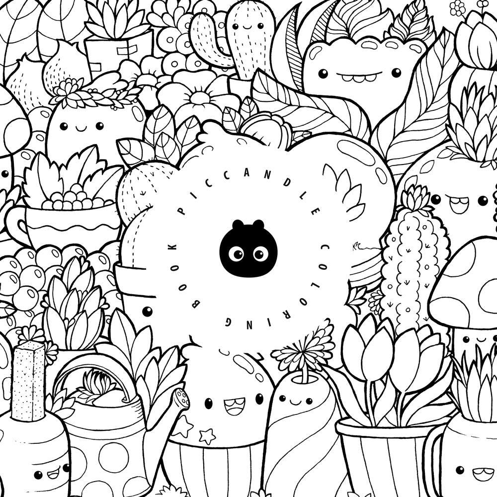 Pic Candle Doodle Coloring Book Inktober\'16 Kawaii   Etsy
