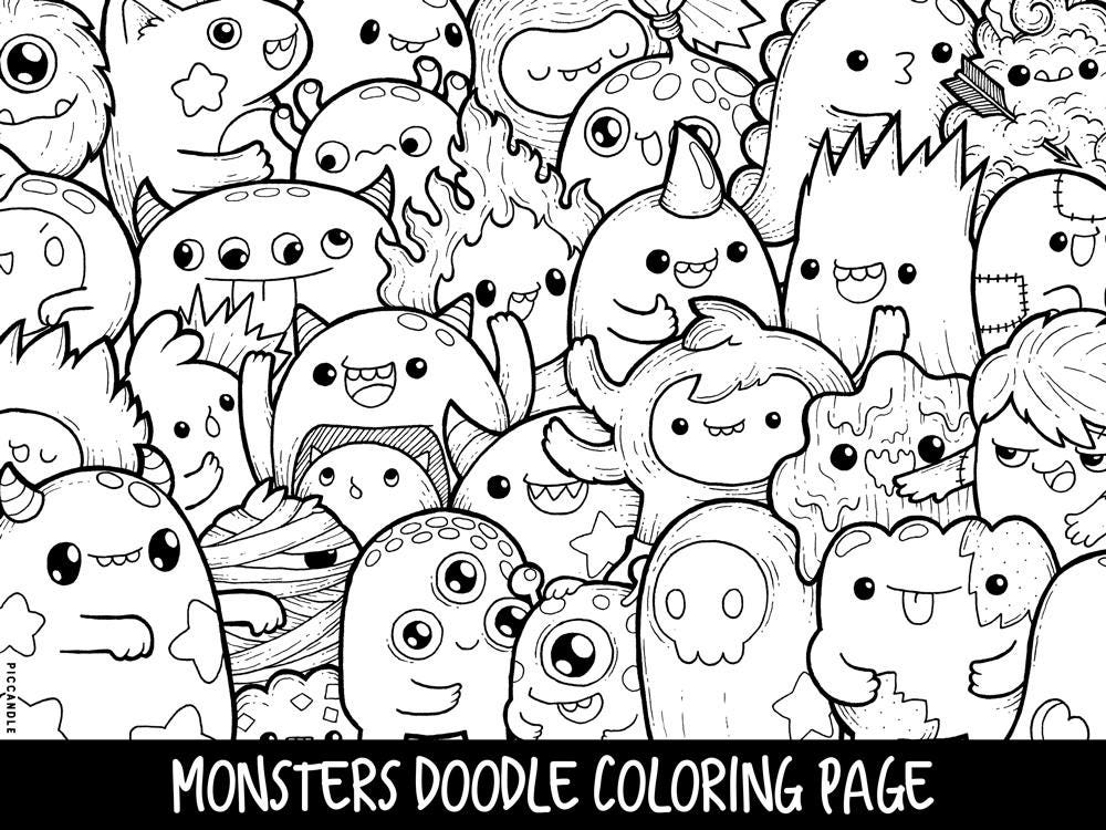 monsters doodle coloring page printable cute kawaii coloring etsy