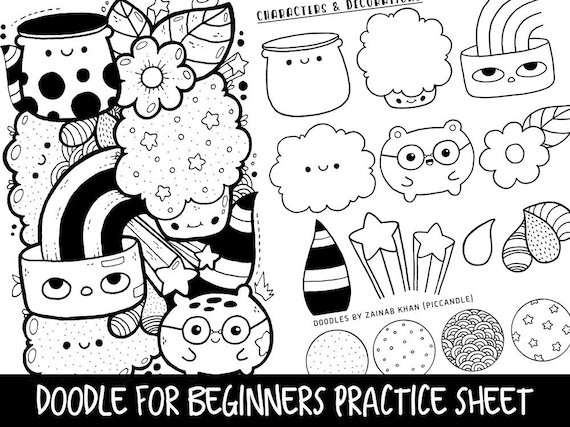Doodle For Beginners Reference Practice Printable Etsy