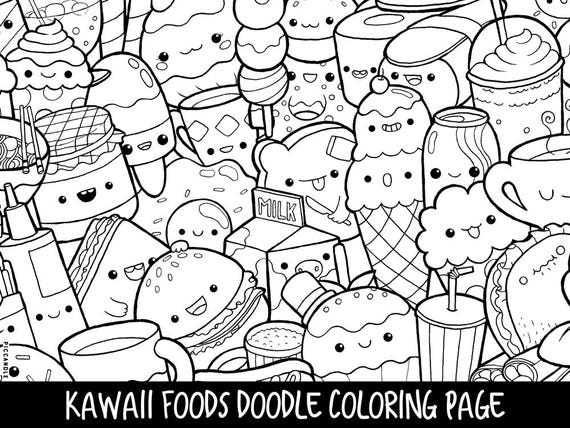 - Foods Doodle Coloring Page Printable Cute/Kawaii Coloring Etsy