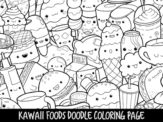 Foods Doodle Coloring Page Printable Cute/Kawaii Coloring | Etsy