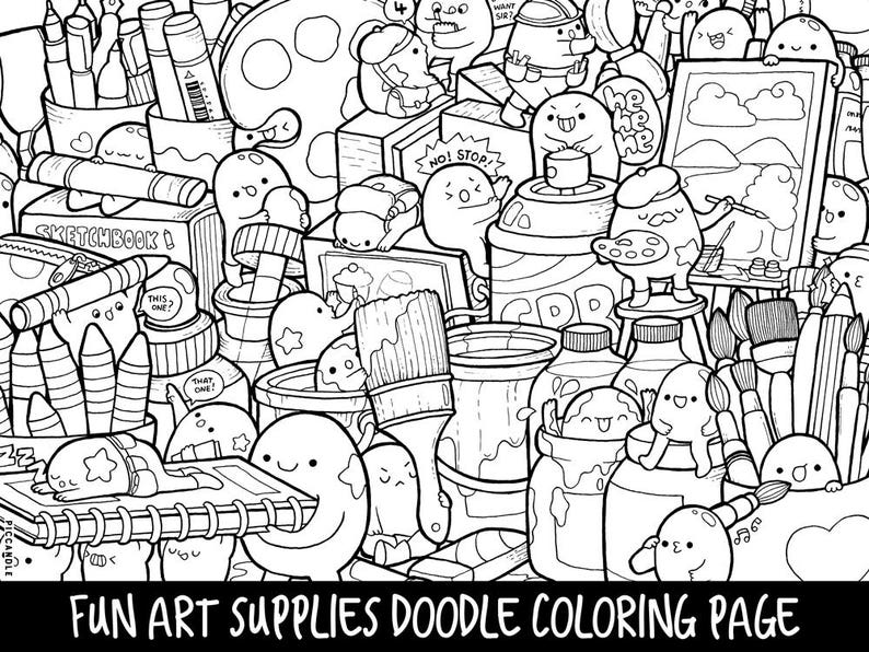Art Supplies Doodle Coloring Page Printable Cute Kawaii Etsy