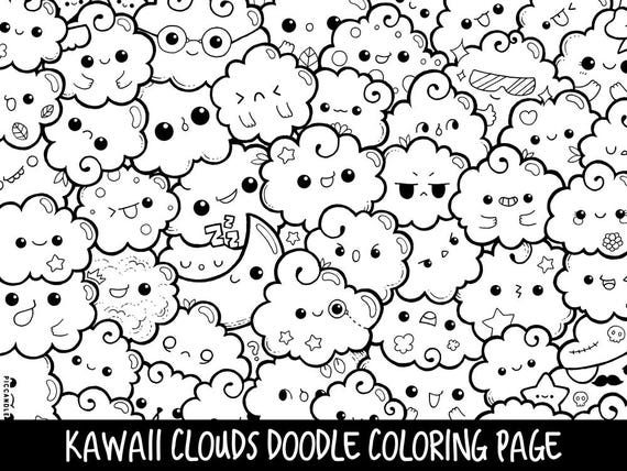 Clouds Doodle Coloring Page Printable Cute Kawaii Coloring Etsy