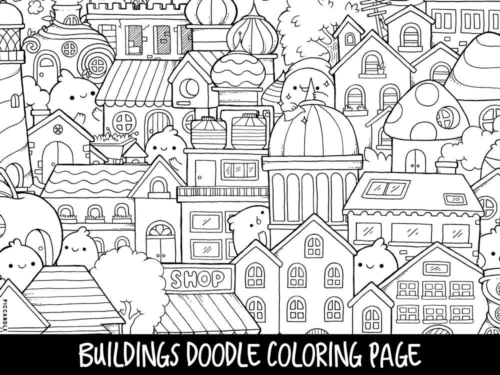 Buildings Doodle Coloring Page Printable Cute/Kawaii   Etsy