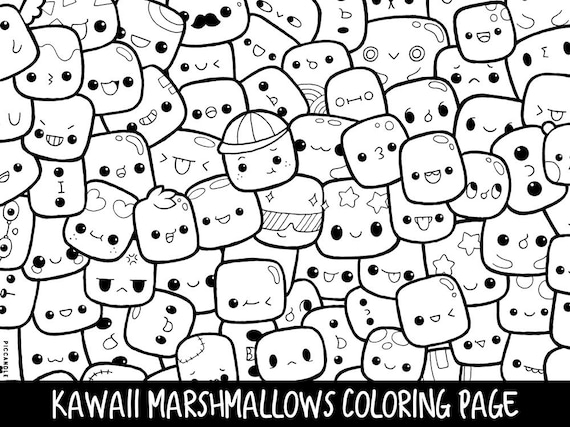Coloriage Kawaii Pdf.Marshmallows Doodle Coloring Page Printable Cute Kawaii Coloring Page For Kids And Adults
