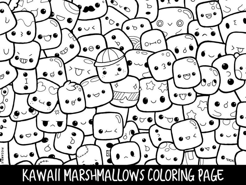 photo relating to Printable Kawaii Coloring Pages called Marshmallows Doodle Coloring Webpage Printable Lovely/Kawaii Coloring Site for Children and Grown ups