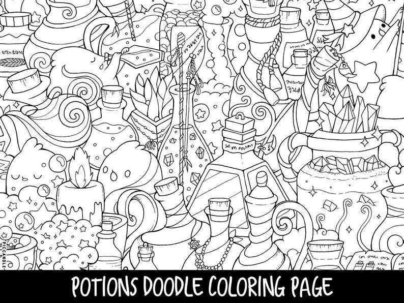 Potions Doodle Coloring Page Printable Cute Kawaii Coloring Etsy