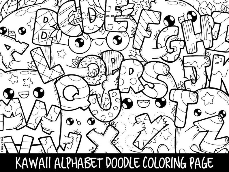 Alphabet Doodle Coloring Page Printable Cutekawaii Etsyrhetsy: Alphabet Doodle Coloring Pages At Baymontmadison.com