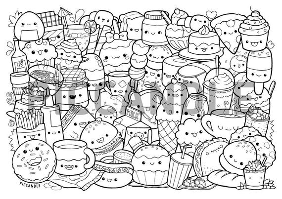 Foods Doodle Coloring Page Printable Cute/Kawaii Coloring ...