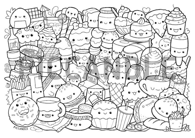 Foods Doodle Coloring Page Printable Cute/Kawaii Coloring ...