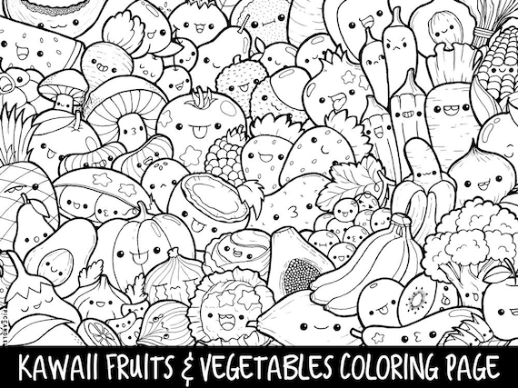 graphic relating to Printable Vegetables referred to as Culmination Veggies Doodle Coloring Web site Printable Lovely/Kawaii Coloring Web site for Children and Older people