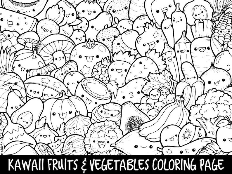 Fruits & Vegetables Doodle Coloring Page Printable | Cute/Kawaii Coloring  Page for Kids and Adults
